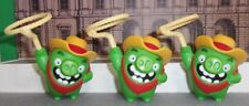 ANGRY BIRD LOT OF 3 FIGURES MCDONALDS  RODEO COWBOY W/ ROPES CAKE TOP SPIN LASSO