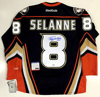 """TEEMU SELANNE ANAHEIM DUCKS SIGNED JERSEY WITH """"A""""  PSA/DNA IN THE PRESENCE COA"""