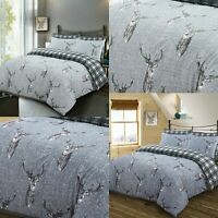 King Size Animal Print Duvet Cover Double Stag Bedding Set Cotton Grey Deer Head