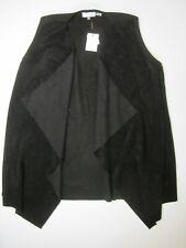 Calvin Klein Women's Black Faux Suede Drape Vest Open Front Size XL $109