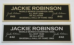 Jackie Robinson nameplate for signed autographed baseball jersey photo glove