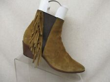 722a9bce579 Saint Laurent Paris Brown Suede Elastic Fringe Ankle Fashion Boots Sz 37.5  EUR