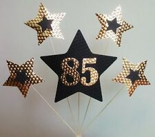 85th BIRTHDAY  CAKE TOPPER. STARS, Gold and Black.