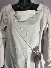 Thread & Supply Size Large Blouse White Rose Striped Wrap Front Bell Sleeve  K19