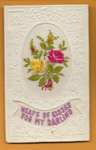 WW1 Embroidered silk postcard. Heaps of kisses for my Darling. Tucks D'Art.