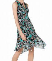 Nanette Lepore Women's Dress Blue Black Size 8 Sheath Swirl Print Silk $548 #570