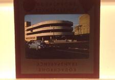 Vtg 40s Kodachrome Street Car Mid Century Modern Building Photograph Color Slide