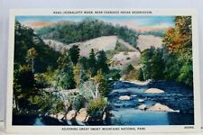 Great Smoky Mountains National Park Oconalufty River Cherokee Postcard Old View