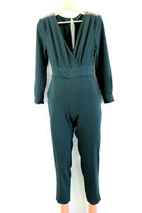 Zara Basic NEW Sacramento Green Jumpsuit with Shoulder Pads & Decoration Size XS