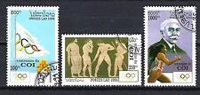 JO été Laos (29) série complète de 3 timbres oblitérés
