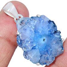 Marine Blue Solar Quartz Eye 925 Sterling Silver Pendant Jewelry AP245303