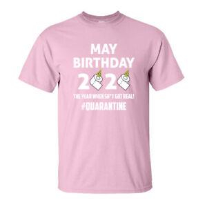 Quarantine Birthday T-Shirt - May Pandemic Virus - Adults & Kids Sizes - L Pink