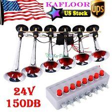 Silver Chrome 24V 150db 6-Trumpet Deep Loud Train Sound Musical Air Horn Kit