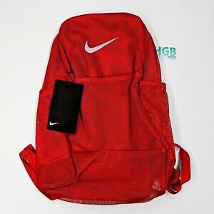 Nike Brazillia Backpack Unisex Running Training Gym See Through Red BA6050-657