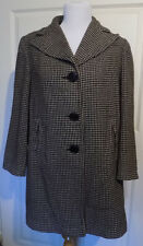 Vintage Black & Gray Hounds Tooth Check Wool Coat B40