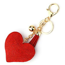 Fancy Women Crystal Rhinestone Pendant Heart Shape Key Ring Chain Keychain Ring