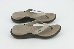Crocs Womens Capri Flip Flop Slip On Sandals Thongs Size W 7 Mushroom Espresso
