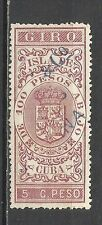 66-SELLO CLASICO FISCAL COLONIA ESPAÑA 1880 GIRO.SPAIN REVENUE FISCALES.5C