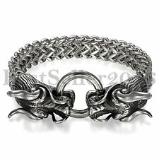 Biker Heavy Stainless Steel Silver Dragon Head Cuff Bangle Men's Bracelet 8.7""