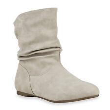 Damen Schlupfstiefel Lederoptik Stiefeletten Bequeme 812208 Schuhe