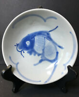 VINTAGE Chinese Fish Blue/White Hand Painted Footed Bowl Antique Signed