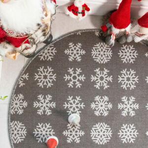 Washable Circle Xmas Mat Christmas Tree Skirt Grey Snowflake Round Mat CLEARANCE