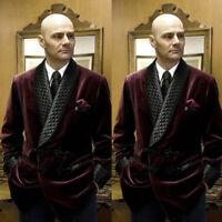 Velvet Smoking Jackets Shawl Lapel Formal Tuxedos Loose Vintage Men Dinner Suits