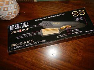 "Hot Shot Tools 2"" Gold Crimping Iron Hair Styler"