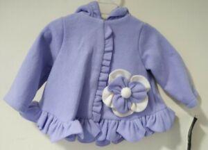 New Isobella & Chloe Purple Hooded Fleece Jacket Size 24 Month
