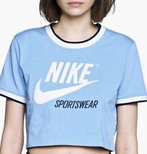 Nike Women's Sportswear Archive Crop Top AA1184-471 Lite-Blue/White/Navy SZ-Med