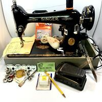 Vintage SINGER Portable Electric Sewing Machine AJ230111With case & Accessories