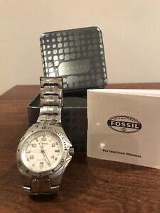 FOSSIL BLUE AM-4052 WRIST WATCH w/ Packaging & User Manual Stainless Steel Mens