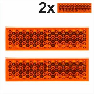 2x Self-Adhesive Amber Orange Oblong Rectangular Trailer Caravan Moto Reflectors