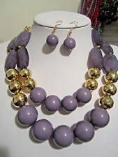 Two Layers Grey Purplish Lucite Bead Gold Tone Bead Chunky Necklace earring