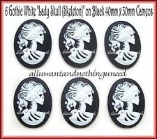 Skull on Black 40mm x 30mm Cameos 6 Goth Punk Halloween Lolita White color Lady