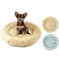 Dog Bed Fluffy Soft Cat Puppy Pet Donut Mattress Cushion Grey Beige Small 48cm