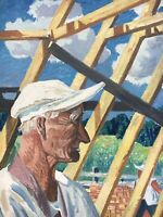 Karl Adser 1912-1995 Workers on a Roof House Construction People 88 x 68