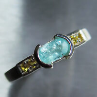 Natural paraiba blue tourmaline 925 Silver/ Gold / Platinum engagement ring
