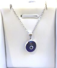 BLUE EVIL EYE PENDANT+ CABLE CHAIN , 925 Sterling Silver, NECKLACE, GOOD LUCK