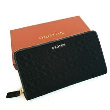 New OROTON Wallet Signet Zip Around Clutch Purse Black Leather 16 cards