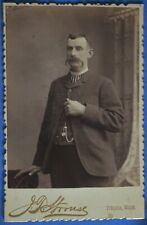 Cabinet Photo Man Droopy Mustache Strouse Ithaca Michigan 1890s