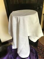 Vintage table linen -  White embroidered cotton table cloth 108 X 68 cm