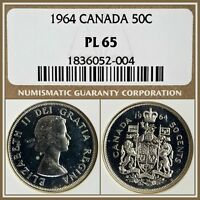 1964 Canada Silver 50c Half Dollar NGC PL65 Gem Proof-like 50 Cents Unc Coin