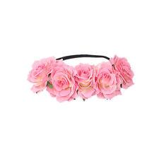 Pink Crown Floral Rose Flower Headband Hairband Wedding Hair Garland Headpiece