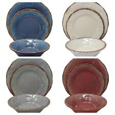 Gianna's Home 12 Piece Rustic Farmhouse Melamine Dinnerware Set