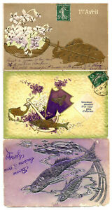 3 Embossed postcards for April First. Look photos.