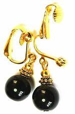 Short Gold Black Clip-On Earrings Glass Bead Vintage Antique Style Drop/Dangle