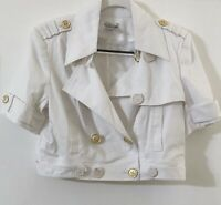 NEW Cache Cropped Jacket Size Large White Nautical Double Breasted Epaulettes