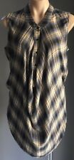 Retro  Brown/Beige/Blue COUNTRY ROAD Check Sleeveless Drape Blouse Size M/12
