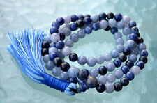 Lapis Lazuli Aquamarine for Handmade 108 Mala Beads For Protection Courage Peace